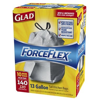 Glad ForceFlex Tall Kitchen Drawstring Trash Bags (13 gal.,140 ct.)