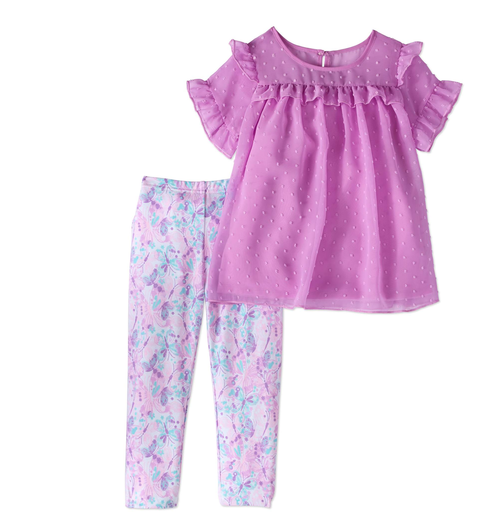 Healthtex Toddler Girls' Swiss Dot Chiffon Tunic and Leggings 2-Piece Outfit Set