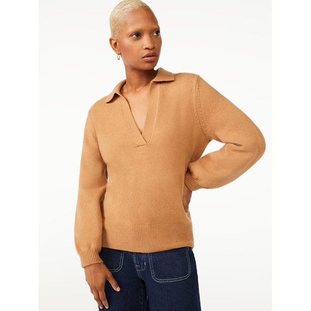 Free Assembly Women's V-Neck Polo Sweater