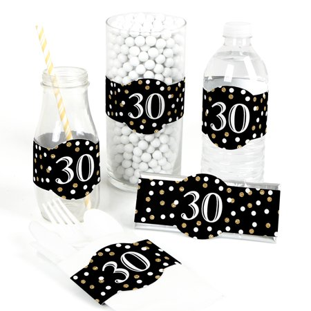 Adult 30th Birthday - Gold - DIY Birthday Party Wrapper Favors - Set of - 30th Birthday Party Favors