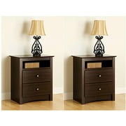 Edenvale 2-Drawer Tall Espresso Nightstand With Open Cubbie, Set of 2