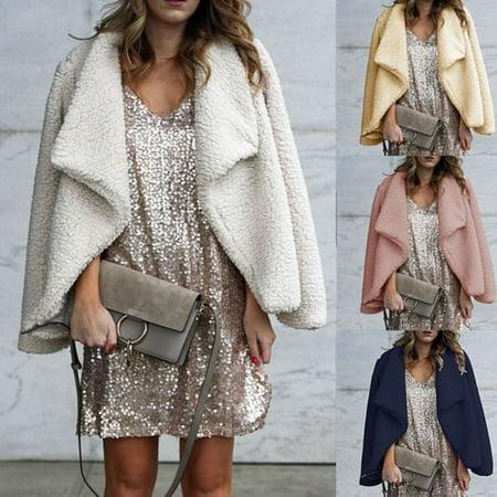 The North Face Fleece Parka - Womens Winter Warm Hooded Fleece Parka Jacket Coat Ladies Tops Overcoat Outwear