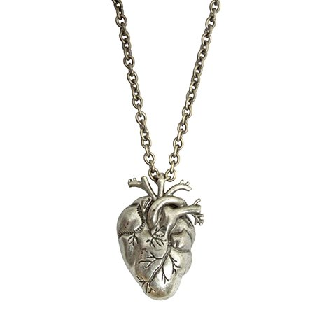 Silver Heart Anatomical Zombie Horror Bloody Halloween Necklace
