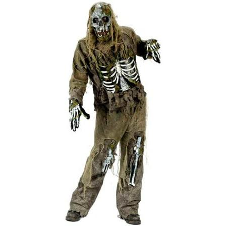 Zombie Skeleton Costume (FunWorld Young Men's Teen Skeleton Zombie, Greenish Yellow, One Size)