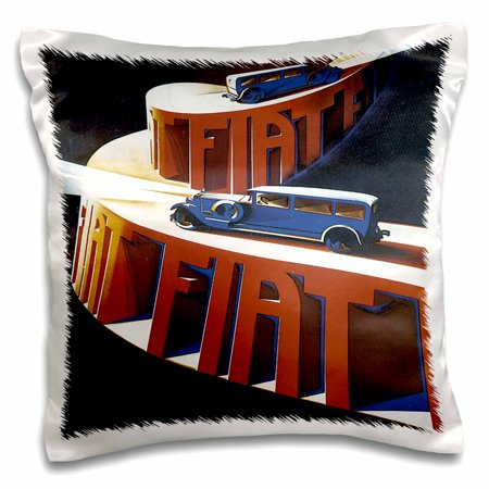 3dRose Vintage Fiat Italian Car Motor Company Advertising Poster, Pillow Case, 16 by 16-inch
