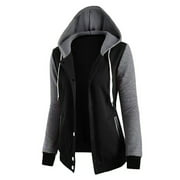 Clothes for Women on Clearance, Long Sleeve Baseball Coat for Women, Red / Black Button Front Tops with Pockets Hoodies Jacket for Women, S-XL