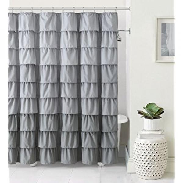 VCNY Home Heavy Duty Luxurious Gypsy Ruffled Ombre Fabric Shower Curtain - Assorted Colors (Grey)