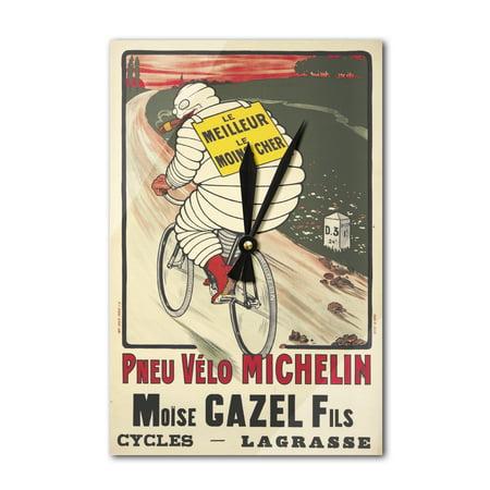 Pneu Velo michelin Vintage Poster (artist: O'Galop) France c  1913 (Acrylic  Wall Clock)