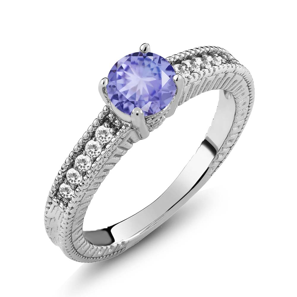 1.00 Ct Round Blue Tanzanite White Sapphire 925 Sterling Silver Engagement Ring by