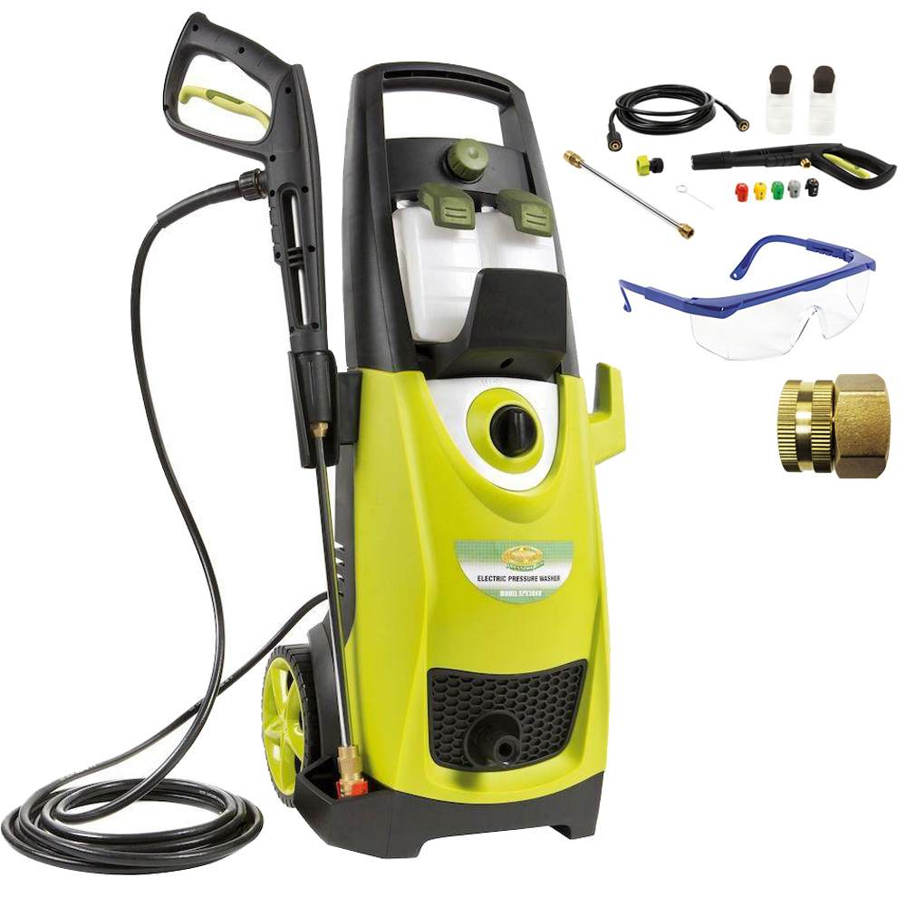 Sun Joe SPX3000 Pressure Joe 2030 PSI Electric Pressure Washer Deluxe Accessory Bundle includes Pressure Washer, Protective Safety Glasses, Quick-Spray Tip and Brass Connector