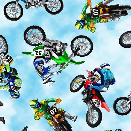 Mini Dirt Bikes-Motorcycles Cotton Fabric by Timeless Treasures ()