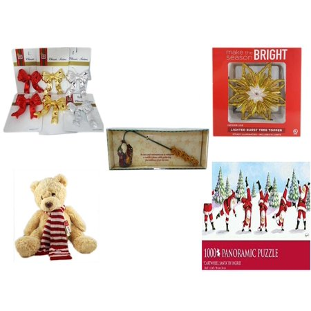 Christmas Fun Gift Bundle [5 Piece] - Brite Star Classic Trims Bow Ornament Set of 6 - Deck The Halls Lighted Burst Gold Tree Topper - Debbie Mumm Button Santa Candle Snuffer - Soft & Cuddly Aeropos](Debbie Mumm Halloween Dishes)
