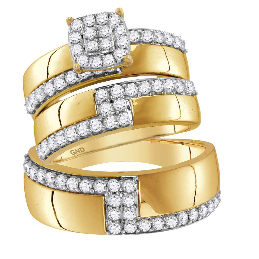 14kt Yellow Gold His & Hers Round Diamond Cluster Matching Bridal Wedding Ring Band Set 1-1 2 Cttw by