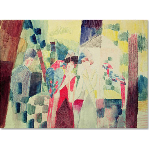 """Trademark Fine Art """"Two Women and a Man With Parrots"""" Canvas Art by August Macke"""