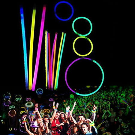 8 Inch Glow Stick Bracelets - 100 Pack in Assorted Colors With 100 Connectors - Glows For 8-12 Hours - By Dazzling Toys - Glass In Glow Sticks