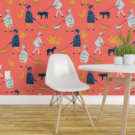 Removable Water Activated Wallpaper Dog Dogs Sixties Tati Walking Dogs