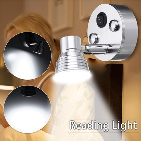 Adjustable LED Wall Mount Light Rotating Sconce Bedside Bedroom Reading Boat RV Lighing Fixture For Yacht Motorhome White