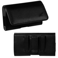 MUNDAZE Black Leather Belt Clip Pouch Carrying Case For Samsung Galaxy S8 S9 S10 Plus Phone