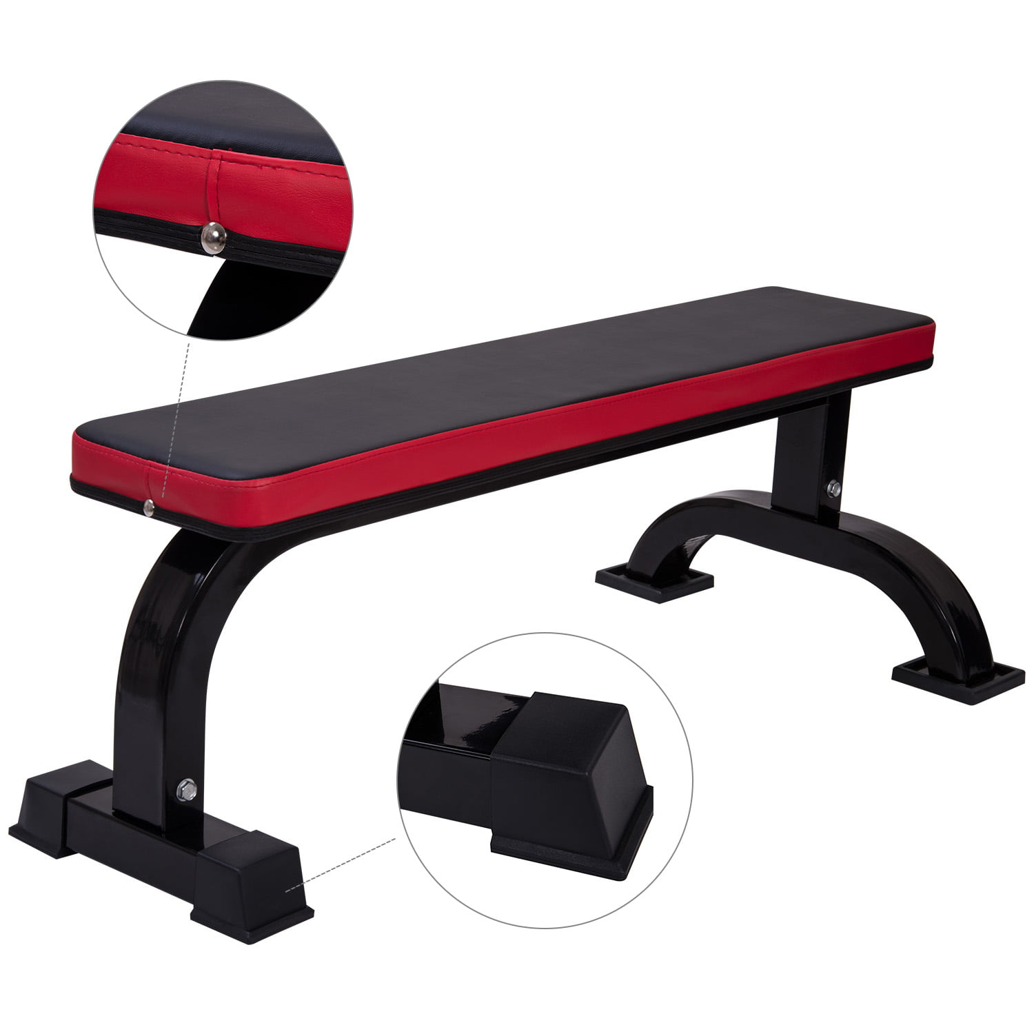 Ollieroo Flat Weight Bench For Weight Lifting Sit Up Bench Strength Training Black Red