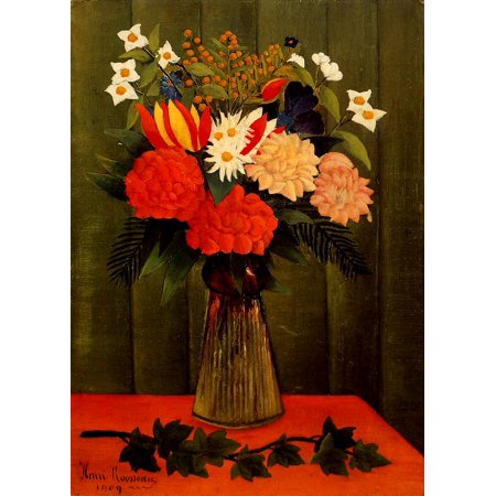 Henri Rousseau Bouquet Of Flowers With An Ivy Branch 1909 Laminated Poster Print 24 x 36