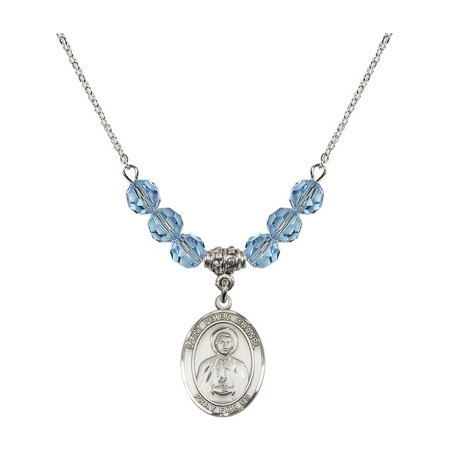 18-Inch Rhodium Plated Necklace with 6mm Blue March Birth Month Stone Beads and Saint Peter Chanel Charm](Chanel Charm)