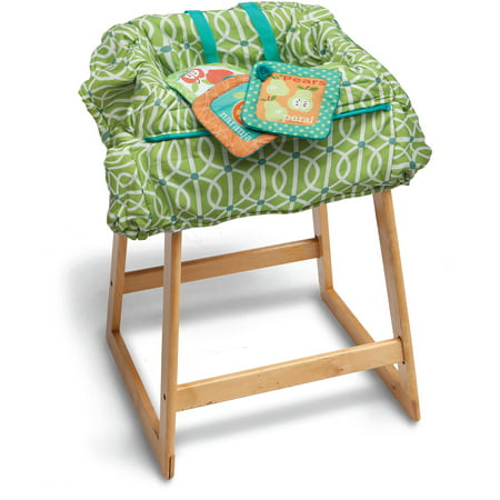 Boppy Shopping Cart Cover - Park Gate Green The Green Boppy Shopping Cart Cover Park Gate features an exclusive SlideLine system to keep toys off the ground and within baby's reach. It has an extra large size for 360-degree coverage on most shopping carts. This item features an integrated safety strap to keep toddlers secure. The baby shopping cart cover can be used on restaurant high chairs. It is also machine washable for easy care. This item comes complete with a plush crinkle toy and it is available in various colors.