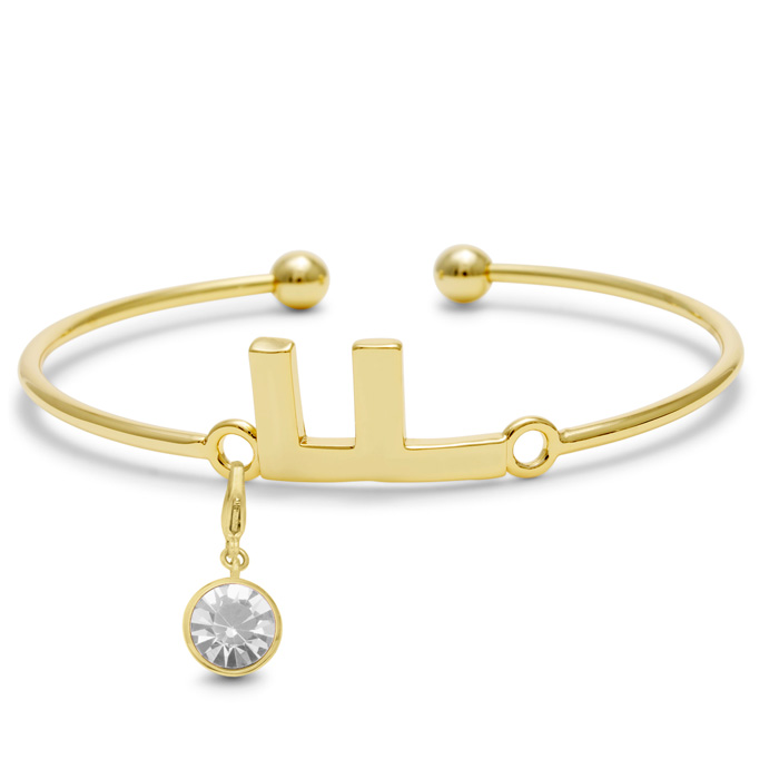 Initial Bangle Bracelet With Pearl Crystal Birthstone, For June Babies by SuperJeweler