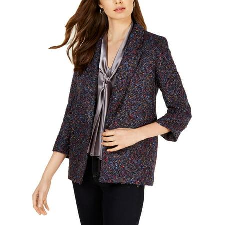 Nine West Womens Tweed Suit Separate Open-Front Blazer