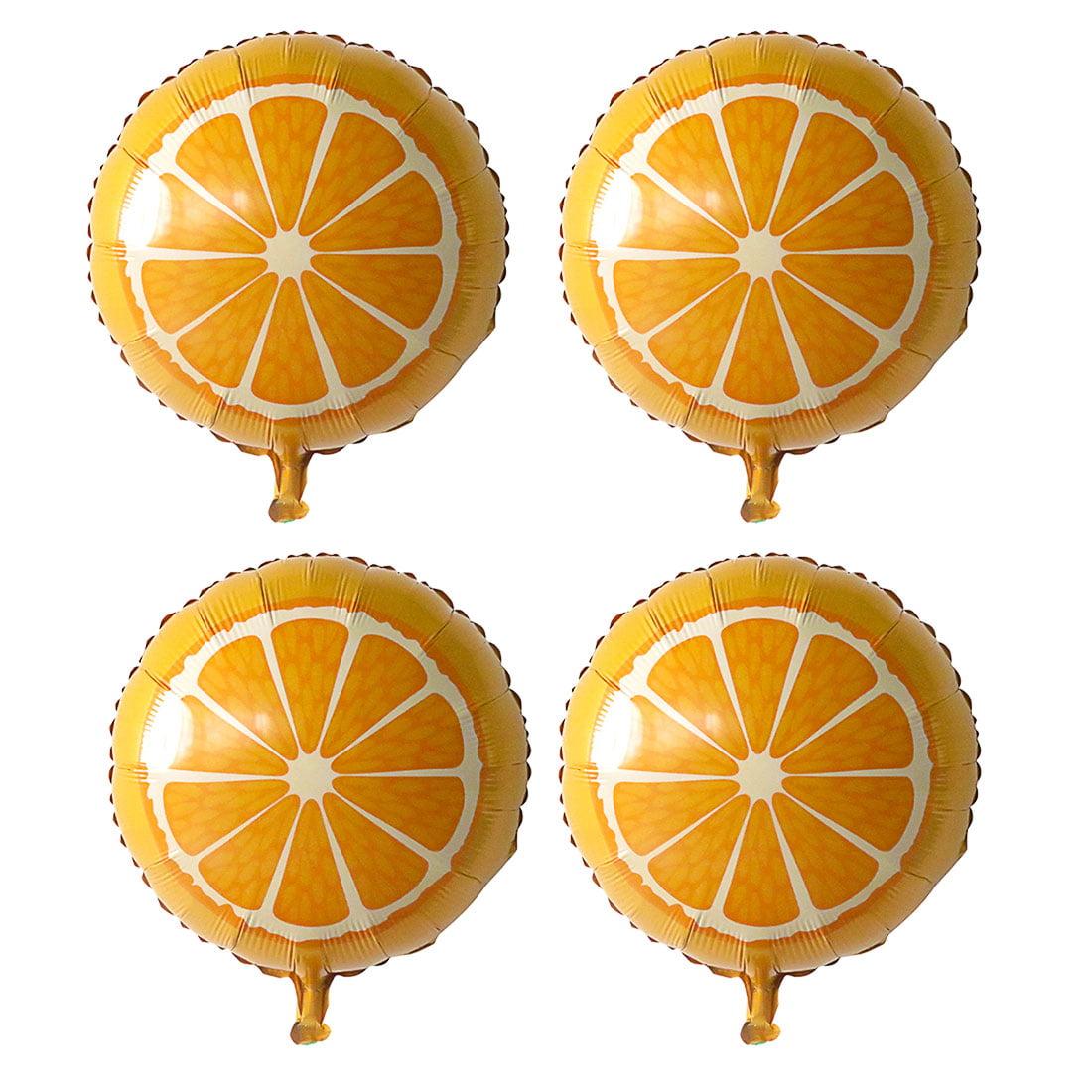 Unique Bargains Foil Orange Print Inflation Balloon Wedding Party Celebration Decor 13 Inch 4pcs