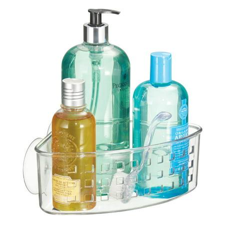 iDesign Bathroom Shower Suction Corner Basket for Shampoo, Conditioner, Soap, Clear