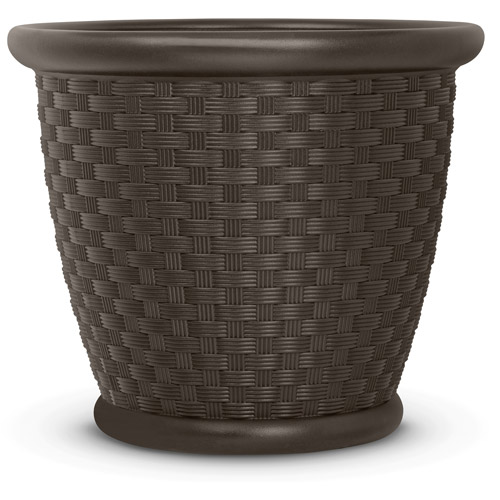 "Suncast 22"" Sonora Resin Planter, Java, Contains 2 Planters"