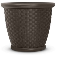 Suncast 22 in. Sonora Resin Planter, Round Decorative Plant Pot, Java Brown