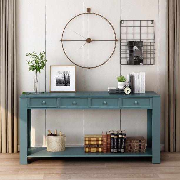 Entryway Table With 4 Storage Drawers 64 15 30 Wood Console Tables Farmhouse Narrow Sofa Industric Hallway Foyer Buffet Cabinet Sideboard Entry W Bottom Shelf A298 Com - What To Put On An Entryway Table