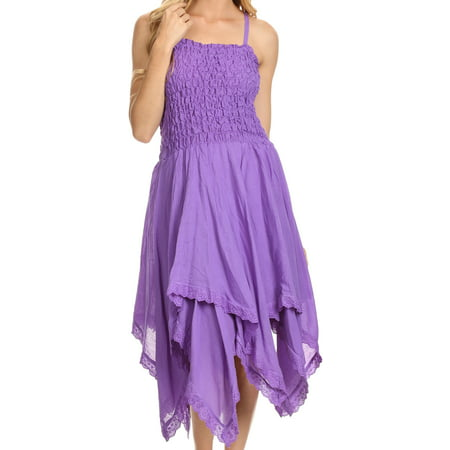 Sakkas Ella Smocked Bodice Spaghetti Strap Double Layered Dress - Purple - One Size Regular - Blue Jumpsuit