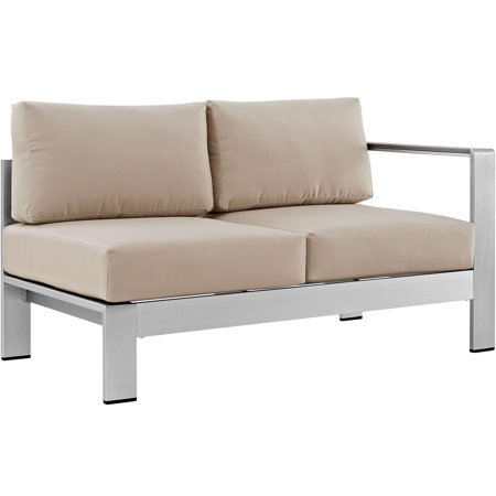 Modern Contemporary Urban Design Outdoor Patio Balcony Right Arm Corner Loveseat Sofa, Beige, (Aluminum Loveseat)