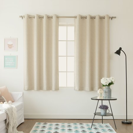 - Quality Home's Shiny Back Linen Texture Print Room Darkening Nickel Grommet Curtains - 52
