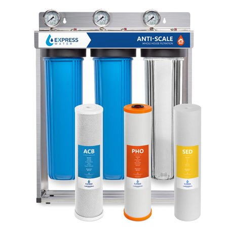 """Express Water Whole House Water Filter – 3 Stage Anti Scale Home Water Filtration System – Sediment, Phosphate, Carbon Filters – includes Pressure Gauges, Easy Release, and 1"""" Inch Connections Filtration System Connections"""