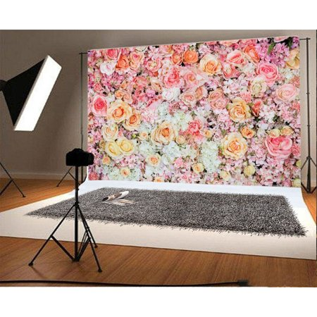 Rose Photography Backdrop (GreenDecor Polyester Fabric Photography Backdrop 7x5ft Romantic Roses Flowers Wall Wedding Decors Party Bride Girlfriend Children Baby Kids Portraits Photos Props Shooting Video Studio)
