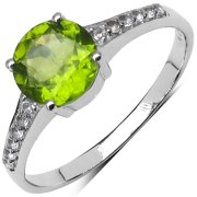 Sterling Silver 1 5/8ct TGW Genuine Peridot and White Topaz Ring Size: 8, Color: Green