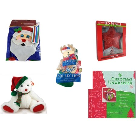 Christmas Fun Gift Bundle [5 Piece] -  Time  Windsock Santa - Deck The Halls Red Star Tree Topper 11.5