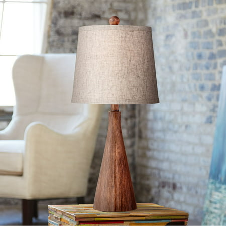 360 Lighting Mid Century Modern Accent Table Lamp Wood Cone Oatmeal Drum  Shade for Living Room Family Bedroom Bedside Nightstand