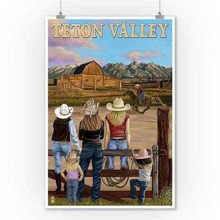 Teton Valley, Idaho - Cowgirls Scene - Lantern Press Poster (9x12 Art Print, Wall Decor Travel - Cowgirl Decor