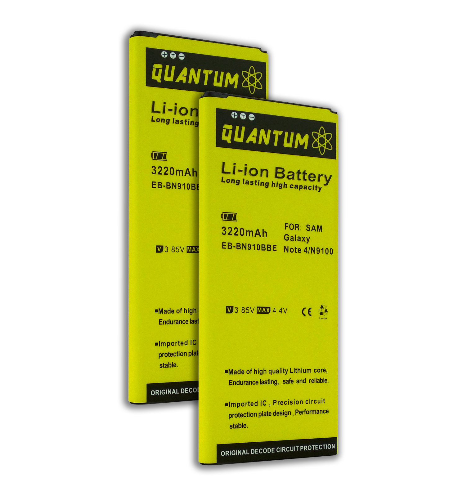 QUANTUM 2x 3,220 mAh Batteries for Samsung Galaxy Note 4, 12 MONTH WARRANTY
