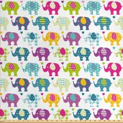 Elephant Nursery Fabric by The Yard, Vivid Colorful Pattern Retro Plaid Tartan Polka Dots Hearts and Stripes, Decorative Fabric for Upholstery and Home Accents, by Ambesonne
