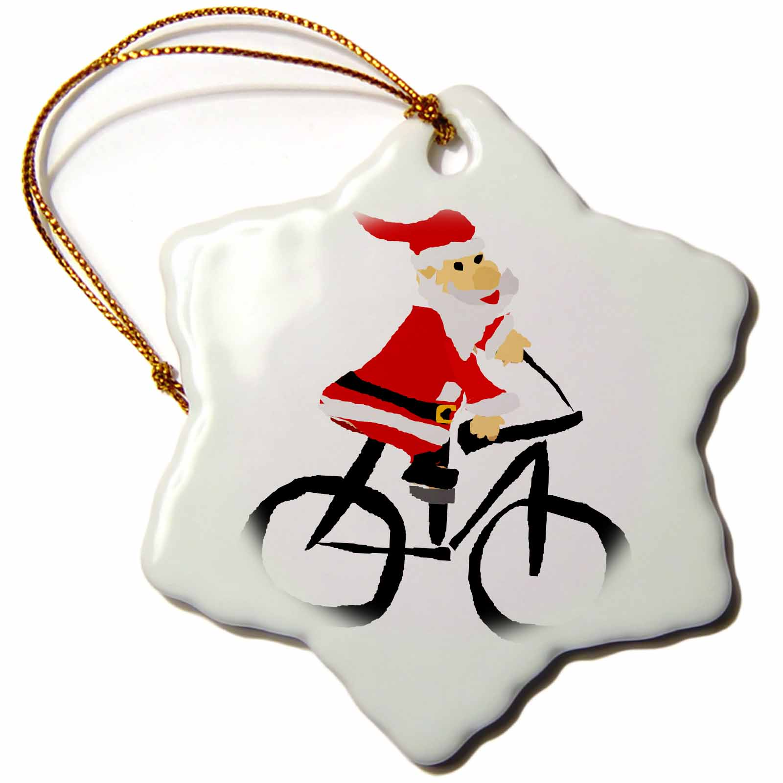 3dRose Funny Santa Claus Riding a Bicycle Christmas Art, Snowflake Ornament, Porcelain, 3-inch