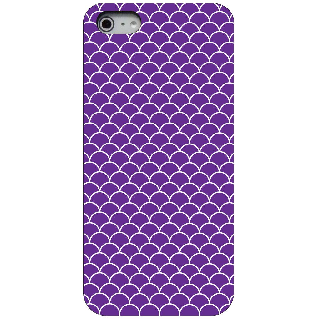 CUSTOM Black Hard Plastic Snap-On Case for Apple iPhone 5 / 5S / SE - Purple White Scalloped Pattern