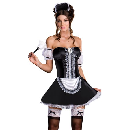 French Maid Corset Costume (Dreamgirl Sexy Naughty French Maid Corset Outfit Adult)
