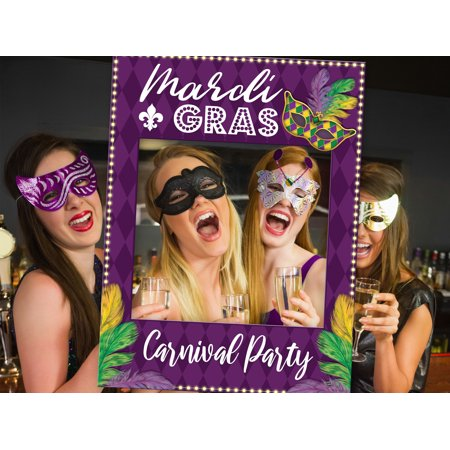 Mardi Gras Party Photobooth Frame, Masquerade Party Decorations, Masquerade Party Photo Booth, Mask, Mardi Gras Feathers, Mardi Gras Party Favors, Carnival photobooth prop frame Size 24x36 - Masquerade Themes