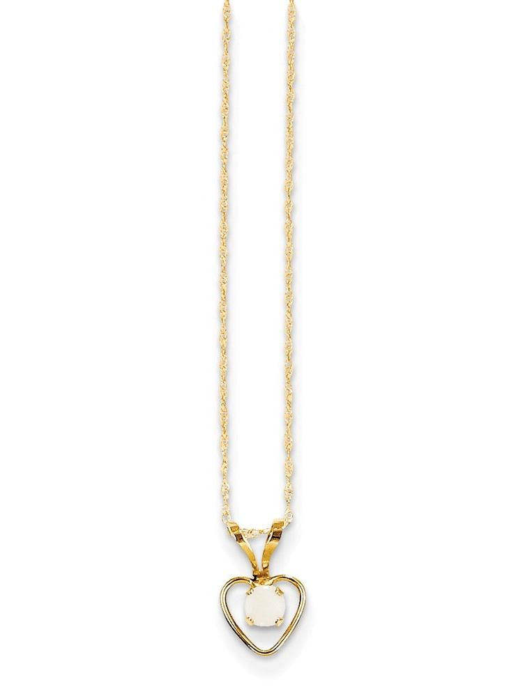 14k Madi K 3mm Opal Heart Necklace by Jewels By Lux