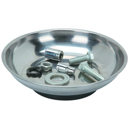 """Mini Magnetic Tray Holder - For Garages, Mechanics, Homes, Construction Sites, Nuts, Bolts, Scrap Metal, Nails, Screws, Sockets, Bits, And Other Magnets. 4 Inch Diameter x 1-1/4"""" Depth - By Katzco"""
